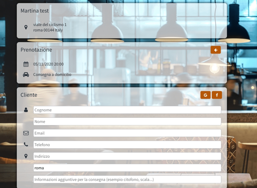 octotable delivery system per ristoranti