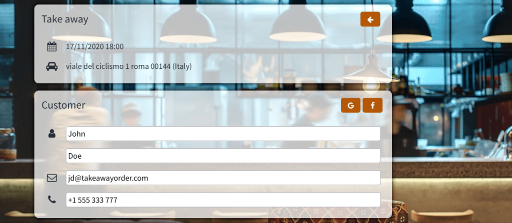 take online orders for take away with octotable restaurant software