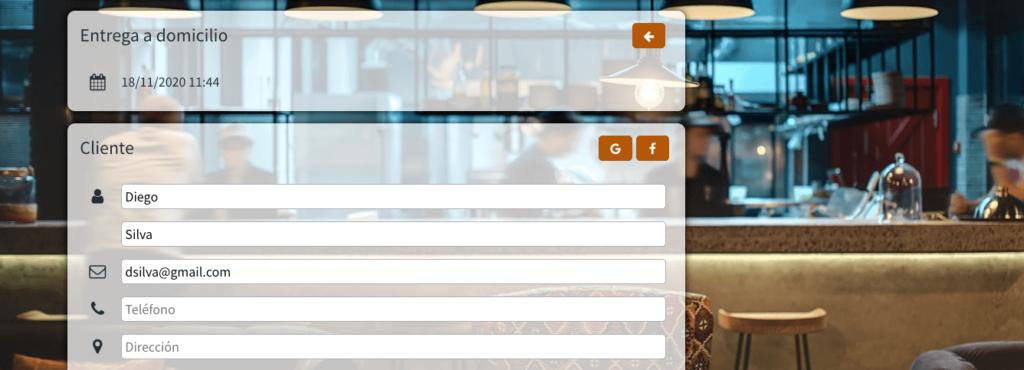 entrega a domicilio web app